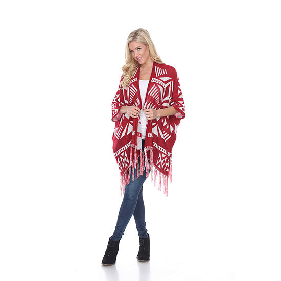White Mark Cherokee Patterned Cardigan Poncho