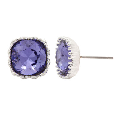 City Rocks Swarovski Cushion Blue Brass Silver Over Brass Stud Earrings