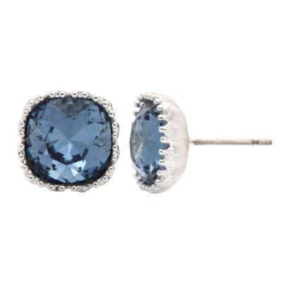 City Rocks Swarovski Cushion Blue Brass Silver Over Brass Stud Earrings