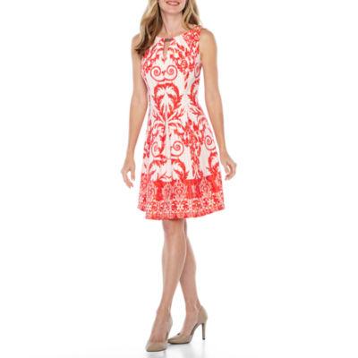 Danny & Nicole Sleeveless Scroll Fit & Flare Dress