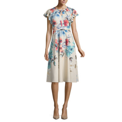 Danny & Nicole Short Sleeve Floral A-Line Dress-Petite