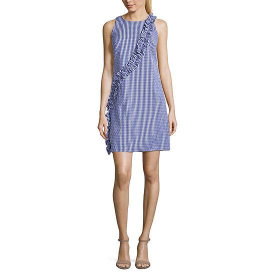 London Style-Petite Sleeveless Gingham Midi Fit & Flare Dress