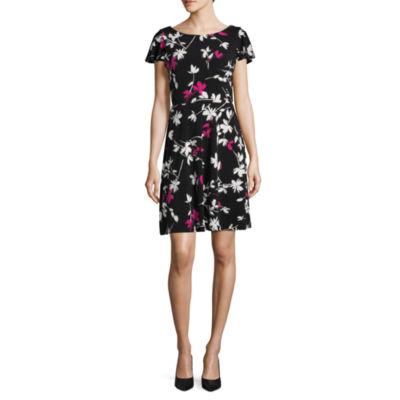 London Style Short Sleeve Shirt Dress-Petites