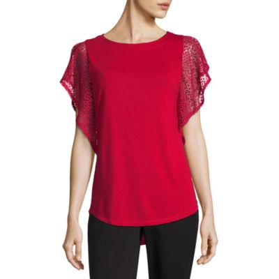 Liz Claiborne Lace Sleeve Round Neck T-Shirt - Tall