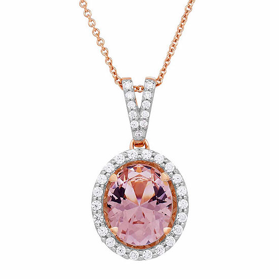 Womens Simulated Morganite Pendant Necklace