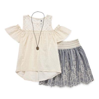 Knit Works Lace Cold Shoulder Skirt Set - Girls' 4-16 & Plus
