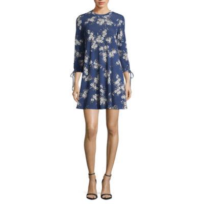 Heart N Soul 3/4 Sleeve Floral Swing Dresses-Juniors