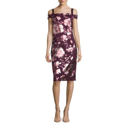 Weslee Rose Short Sleeve Floral Sheath Dress