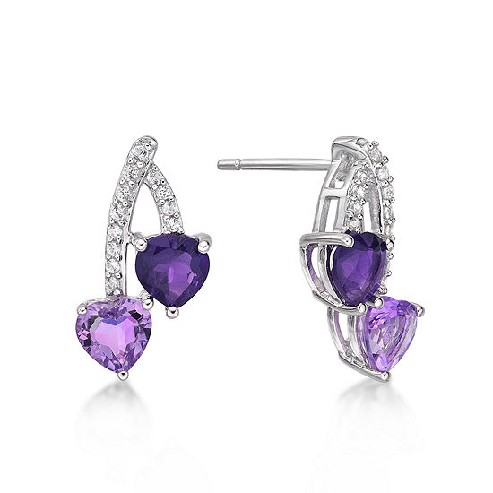 Genuine Purple Amethyst Sterling Silver 16.3mm Stud Earrings