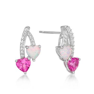 Lab Created Sterling Silver Heart Drop Earrings