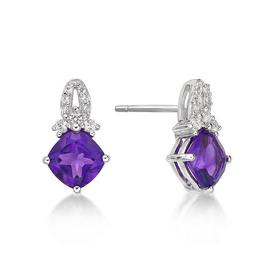 Genuine Purple Amethyst Sterling Silver Drop Earrings