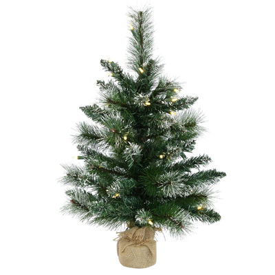 Vickerman 2' Snow Tipped Mixed Pine and Berry Christmas Tree with 35 Lights