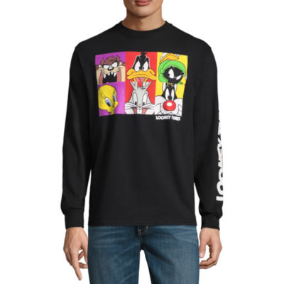 Novelty Season Long Sleeve Looney Tunes Graphic T-Shirt