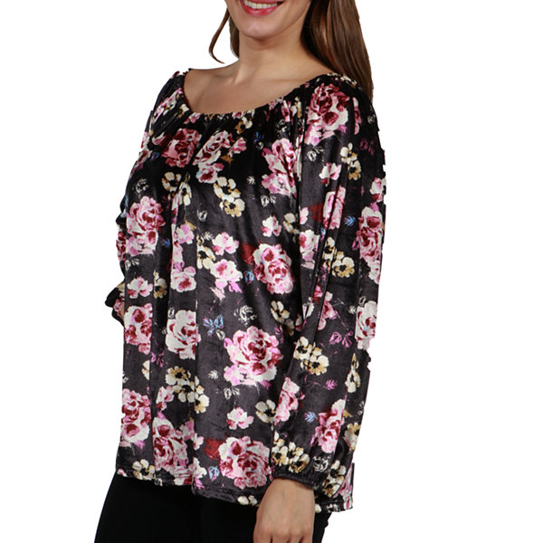24/7 Comfort Apparel Lindsay Velvet Maternity Tunic Top