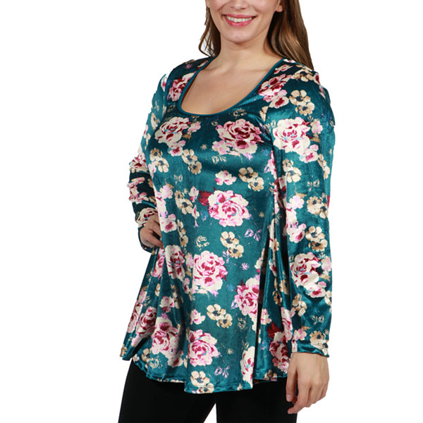 24/7 Comfort Apparel Ginger Blossom Velvet Maternity Tunic Top - Plus