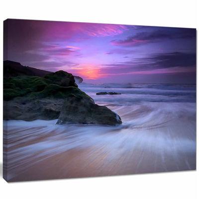 Designart Slow Motion Waves On Winch Beach Seashore Canvas Art Print