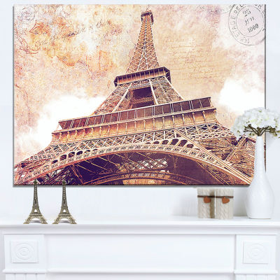 Design Art Paris Eiffel Tower Postcard Design Cityscape Canvas Print