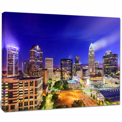 Design Art Charlotte North Carolina Cityscape Canvas Print