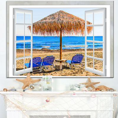Design Art Window Open To Beach Hut With Chairs Seashore Canvas Art
