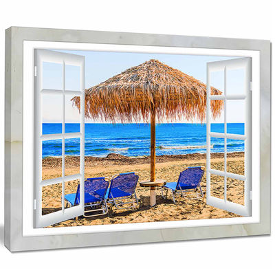 Designart Window Open To Beach Hut With Chairs Seashore Canvas Art