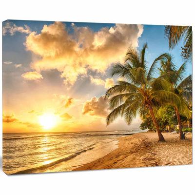 Designart Gorgeous Beach Of Island Barbados ModernSeascape Canvas Artwork