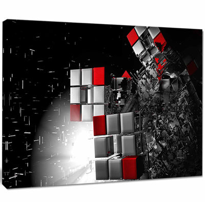 Designart Fractal 3D Red White Cubes Abstract Canvas Art Print