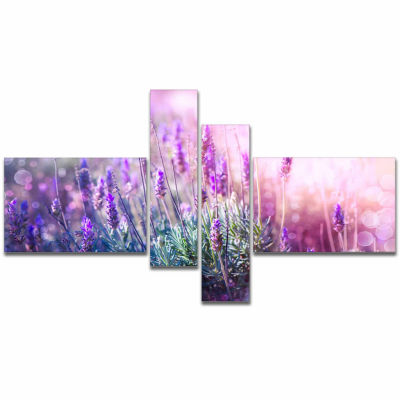 Designart Growing And Blooming Lavender Floral Canvas Art Print - 4 Panels