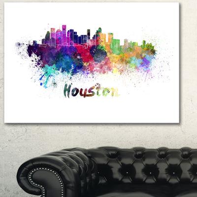 Design Art Houston Skyline Cityscape Canvas Artwork Print