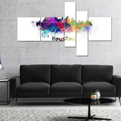 Designart Houston Skyline Cityscape Canvas ArtworkPrint - 5 Panels