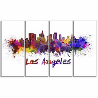 Design Art Los Angeles Skyline Cityscape Canvas Art work Print - 4 Panels