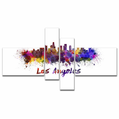 Designart Los Angeles Skyline Cityscape Canvas Artwork Print - 4 Panels