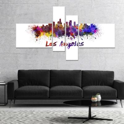 Design Art Los Angeles Skyline Cityscape Canvas Artwork Print - 4 Panels