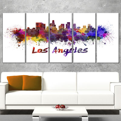 Design Art Los Angeles Skyline Cityscape Canvas Artwork Print - 5 Panels