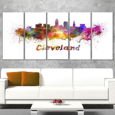 Design Art Cleveland Skyline Cityscape Canvas Artwork Print - 5 Panels