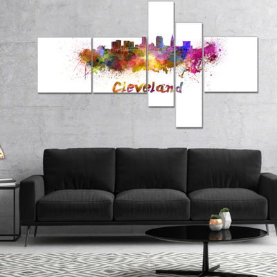 Designart Cleveland Skyline Cityscape Canvas Artwork Print - 5 Panels