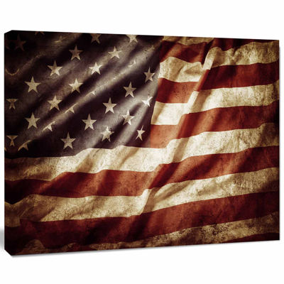 Designart American Flag Contemporary Canvas Art Print