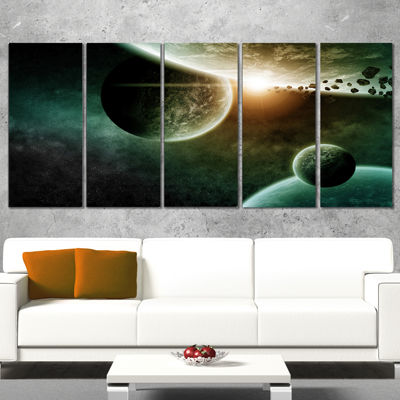 Design Art Space Planet Illustration Contemporary Canvas Art Print - 5 Panels