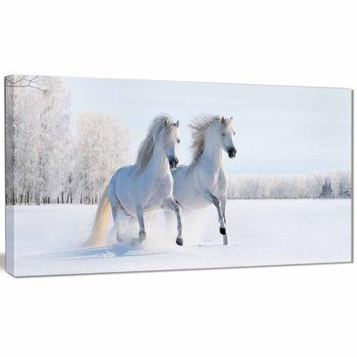 Design Art Two Galloping White Ponies Animal Photo Canvas Art