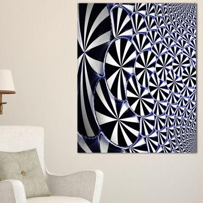 Designart 3D Shaped Black And White Flower DesignFloral Canvas Art Print