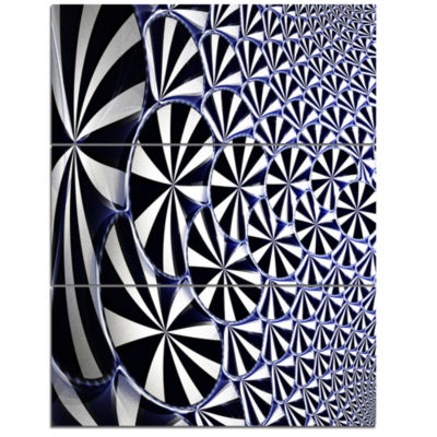 Designart 3D Shaped Black And White Flower DesignFloral Triptych Canvas Art Print