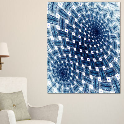Designart 3D Shaped Blue Large Fractal Flower Floral Canvas Art Print