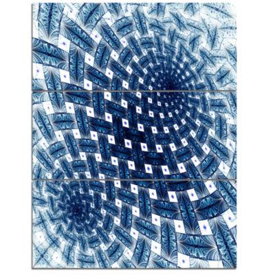 Designart 3D Shaped Blue Large Fractal Flower Floral Triptych Canvas Art Print