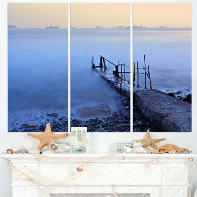 Designart Abandoned Pier Into Blue Sea Sea BridgeTriptych Canvas Art Print