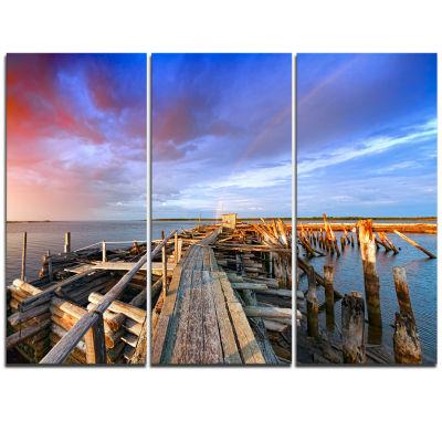 Designart Abandoned Wooden Pier And Blue Sky Sea Bridge Triptych Canvas Art Print