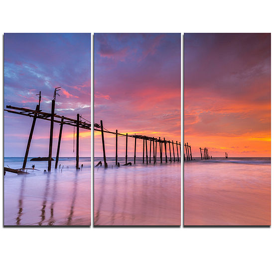 Designart Abandoned Wooden Pier At Sunset Pier Seascape Triptych Canvas Art Print
