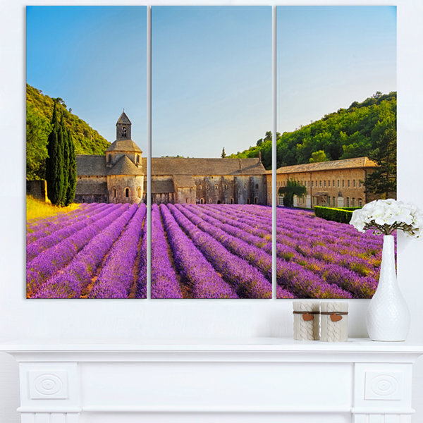 Designart Abbey Of Senanque Lavender Flowers Oversized Landscape Wall Art Print
