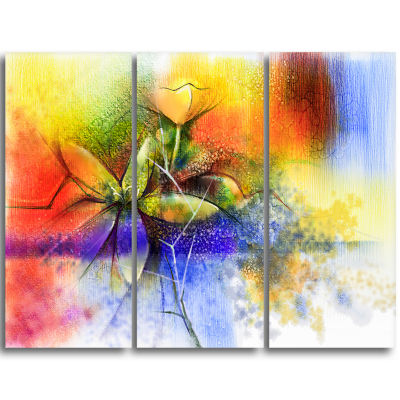 Designart Abstract Colorful Flower Fusion Large Flower Triptych Canvas Wall Art