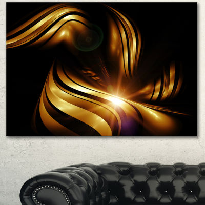 Designart Abstract Gold Fractal Background Contemporary Abstract Wall Art