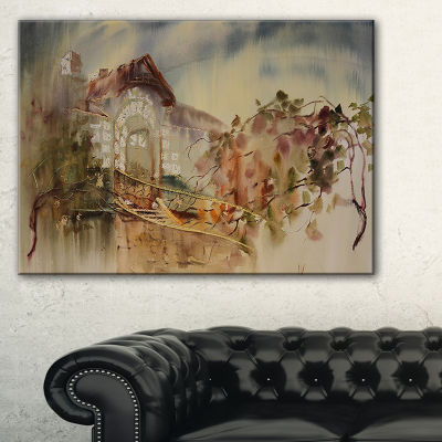 Designart Abstract Old Building Watercolor Abstract Art On Canvas