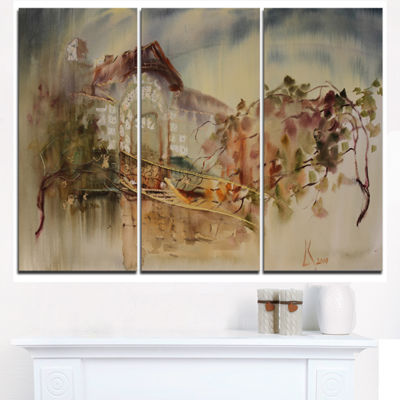 Designart Abstract Old Building Watercolor Abstract Art On Triptych Canvas